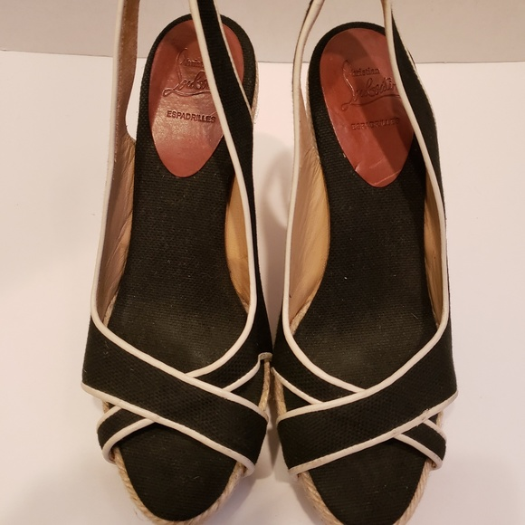 check out a8a65 80201 Christian Louboutin black and white espadrilles